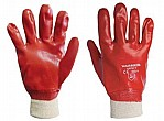 GLOVE - RED PVC WITH KNITTED WRIST (Pack of 12)