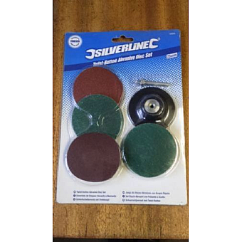 Silverline 75mm Twist Button Abrasive Disc Set